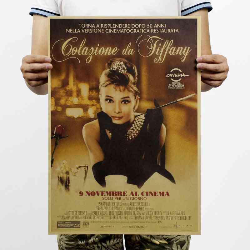 Breakfast At Tiffany's Audrey Hepburn Vintage Kraft Movie Paper-poster