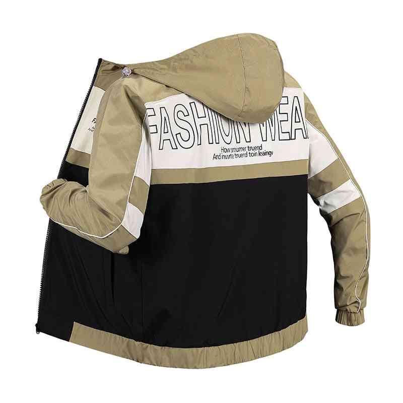 Windproof Sport Coat, Men Classic Thin Windbreaker Big Letter Printing Bowling Jackets