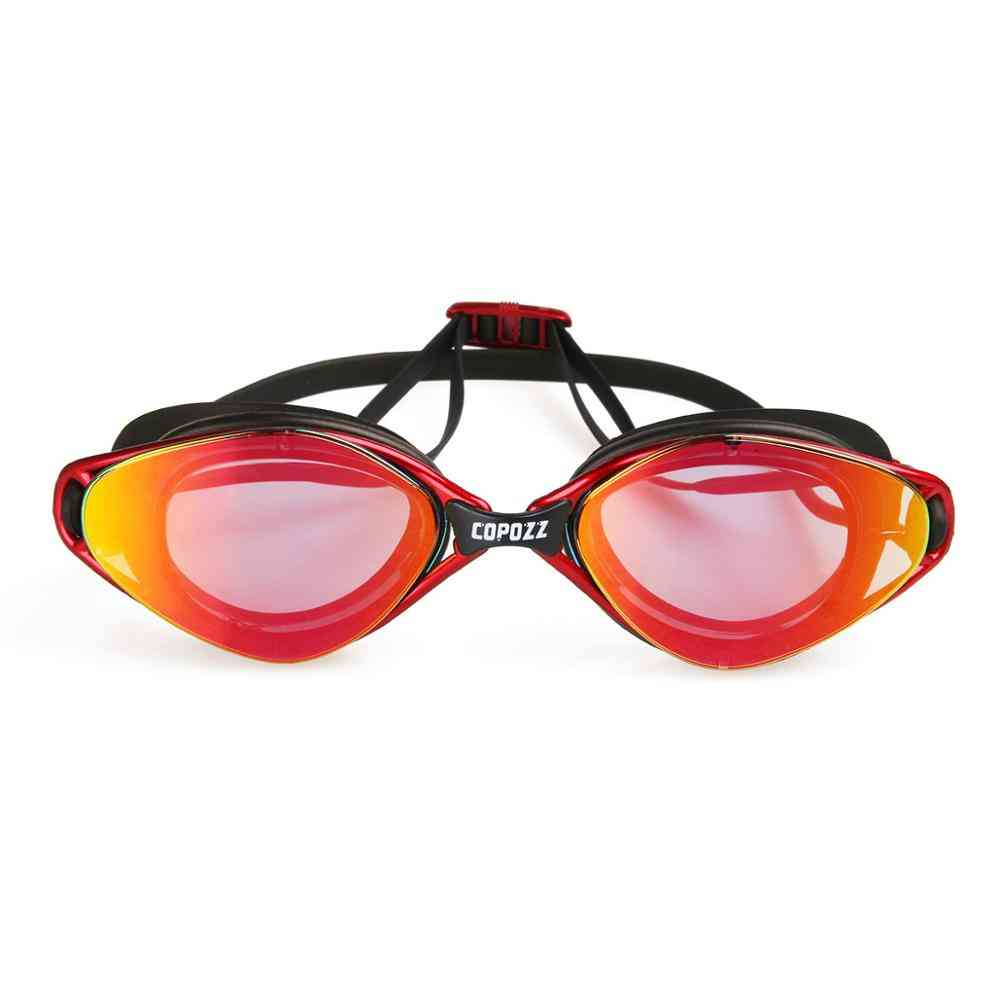 Men / Women Waterproof Silicone Swimming Goggles, Anti-fog Uv Adjustable Plating