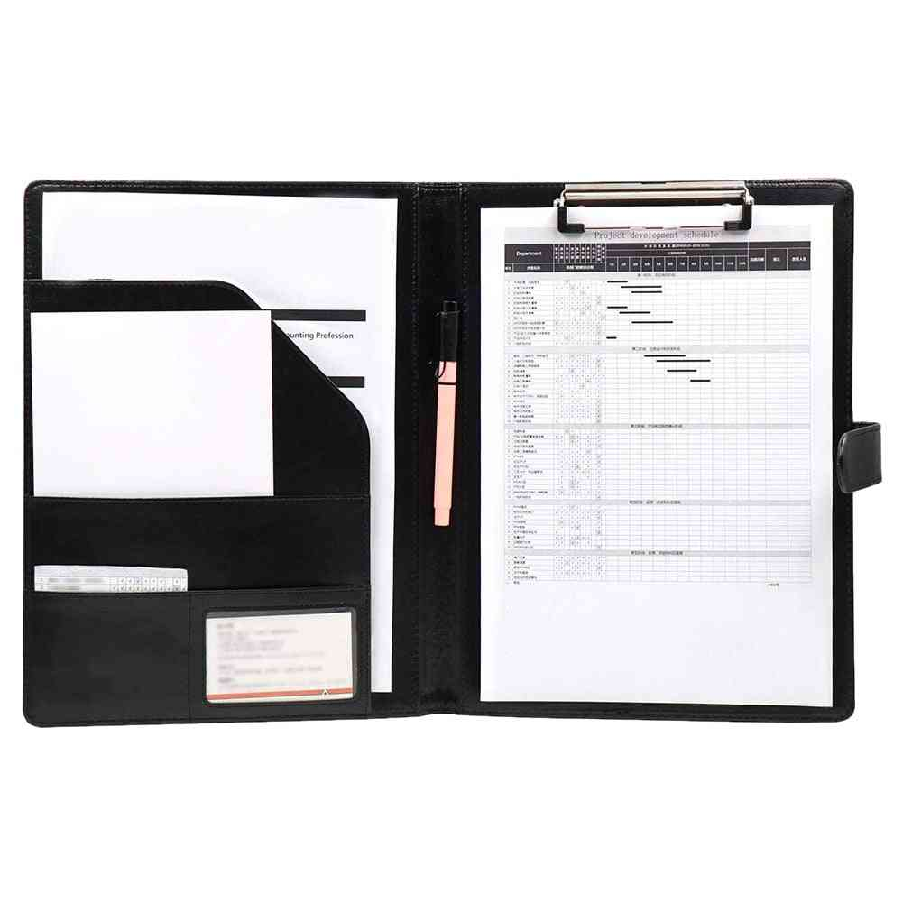 A4/a5 Pu Leather, Multi Functional Folder And Clipboard For Official Use