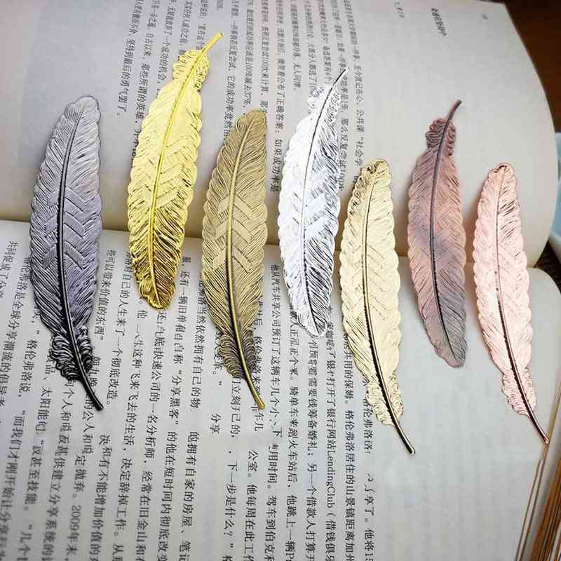 Feather Shape Metal Bookmark