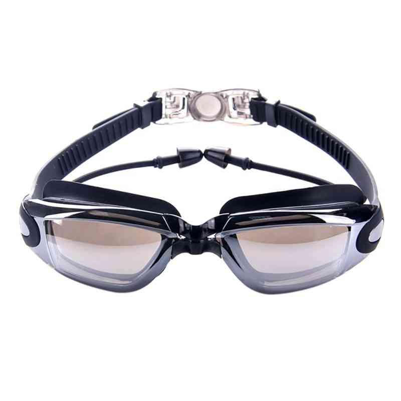 Professional Silicone Swimming Goggles, Anti-fog Uv Glasses With Earplug