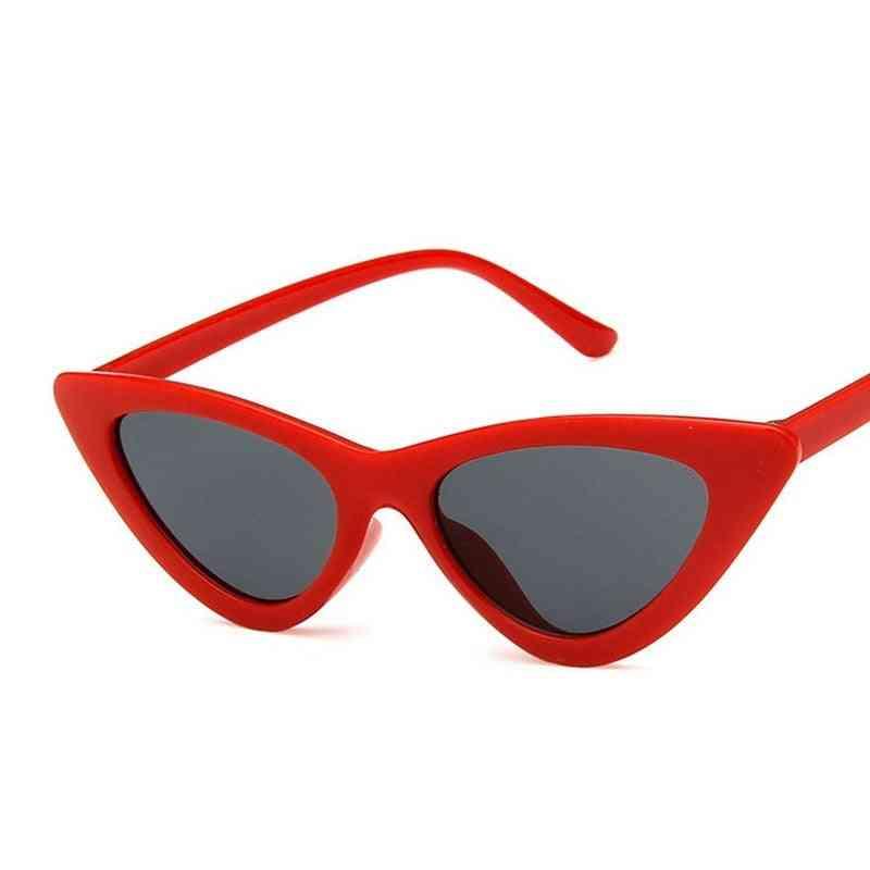Fashion Cute Cat Eye Sunglasses- Women Vintage Retro Small Triangular Cateye Glasses