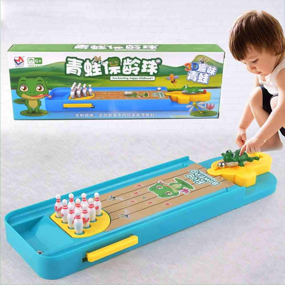Children Mini Desktop Frog Bowling Toy Kits, Portable Indoor Education Table Game Entertainment