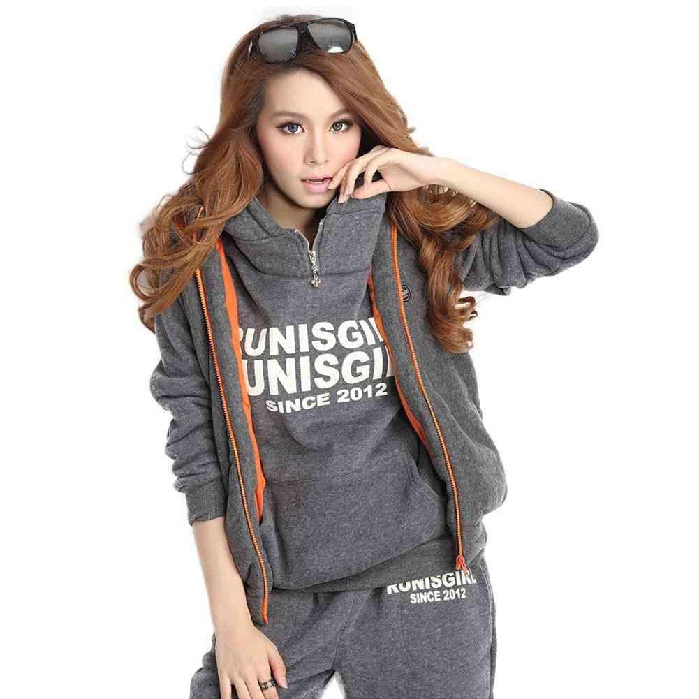 Winter Autumn Thickened Fleece, Sportswear Hooded Sweatshirt, Pants's
