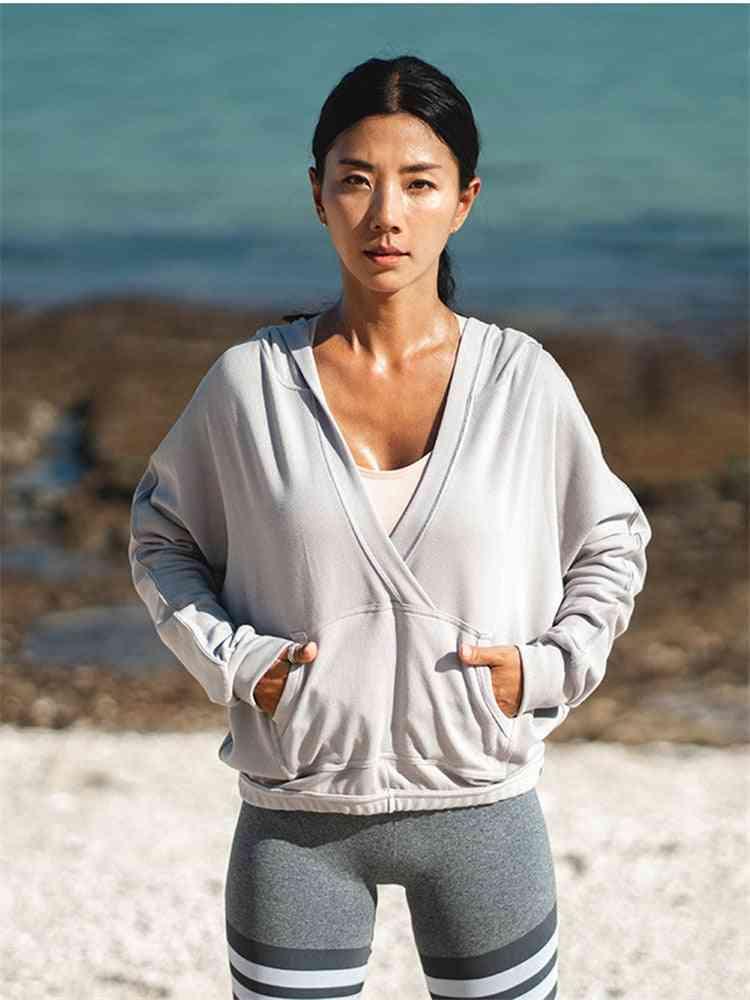 Cotton Women Hoodie, Sports Training Pullover- Loose Sweatshirt