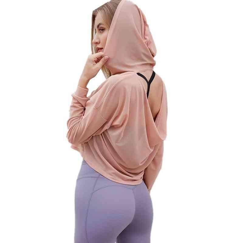 Open Back Sport Sweatshirt, Fitness Mesh Pullover