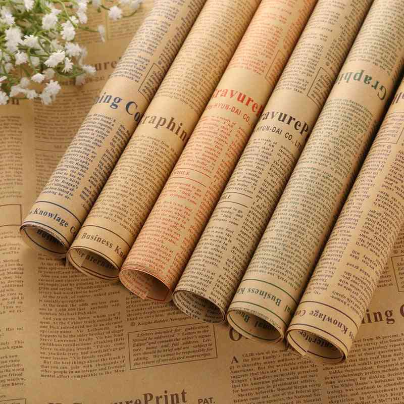 Retro English Newspaper, Double Sided Flowers, Wrapping Paper