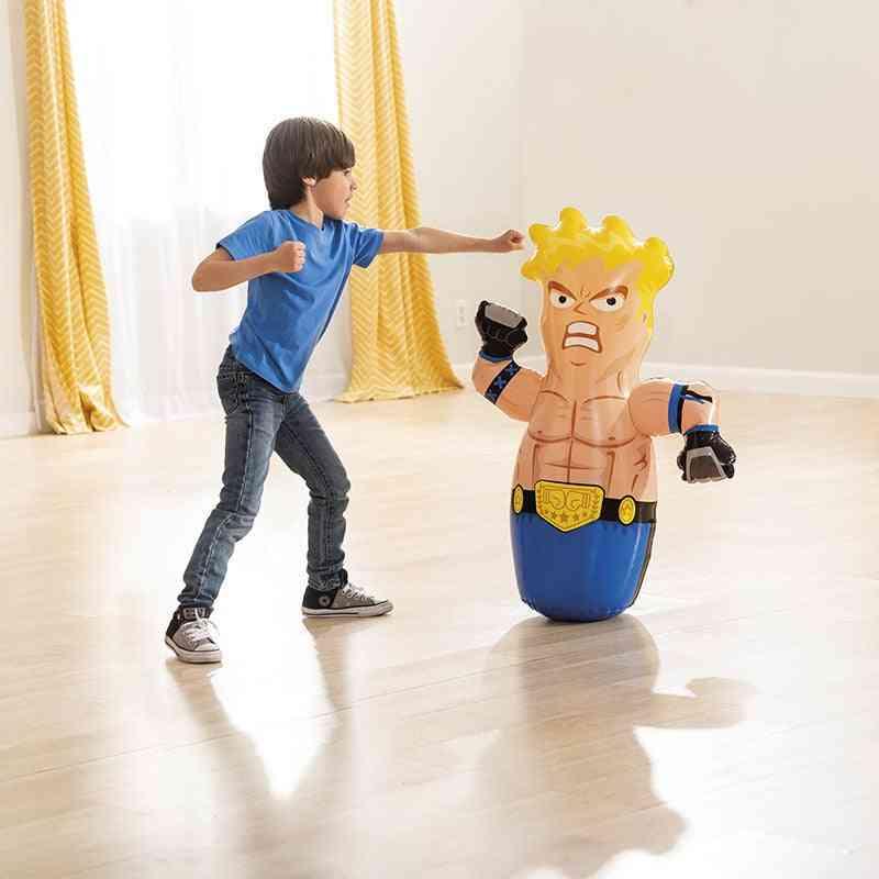 Fun Boxing Doll Tumbler Wrestler Cartoon Play Inflatable Toy