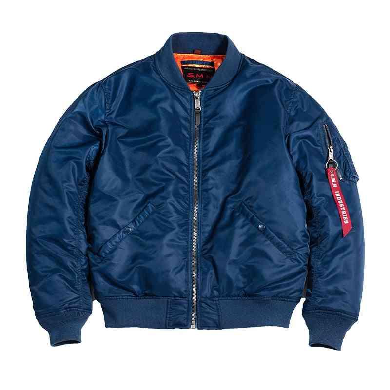 Blue Men's Bomer Air Force Pilot Jacket, Thin Coats - Outwear Clothing