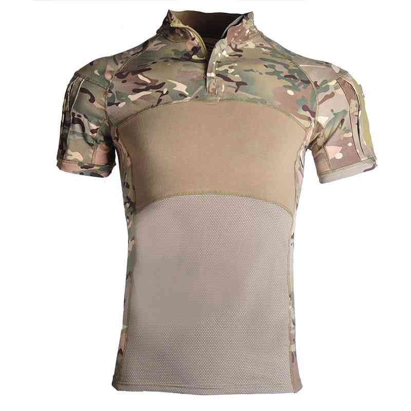 Airsoft Camouflage Hunting Base Layers Combat Shirts, Rapid Assault Short Sleeve Shirt Tops