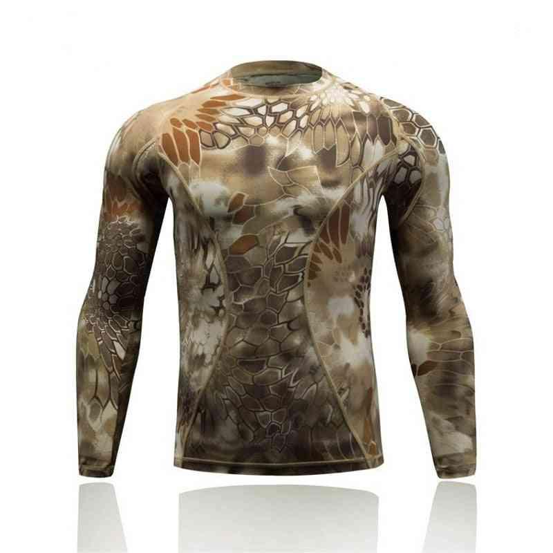 Quick Dry Tactical Combat Shirt, Camo Men Long Sleeve T-shirts