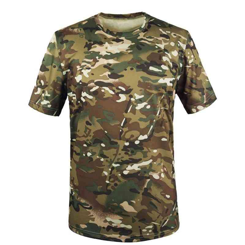 Tactical Shirt, Camo Army Round Collar, Anti-uv Perspiration For Outdoor