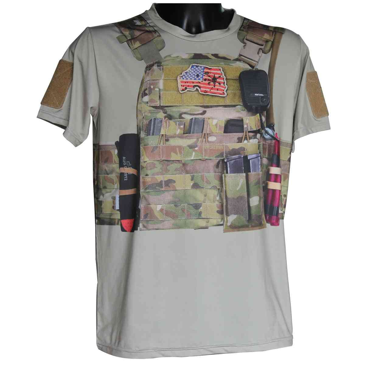Cool 3d Material Mens Army Tactical Training T-shirt