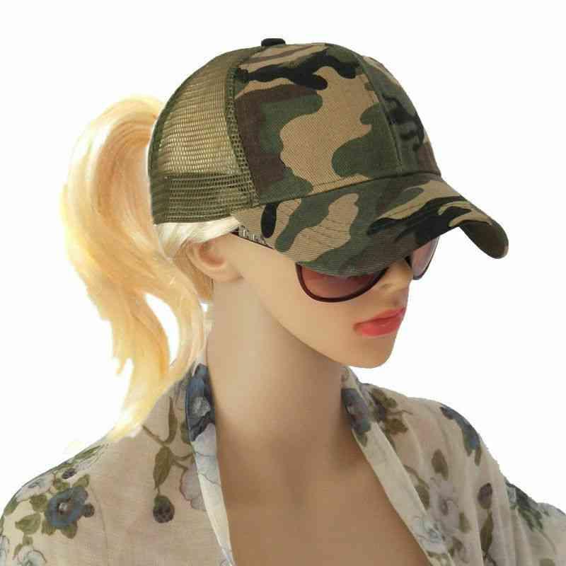 Women Ponytail Baseball Cap, Summer Mesh Camo Sun Hat
