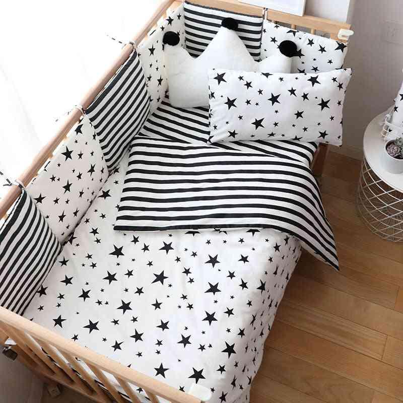 Nordic Striped Star Crib Bedding Set With Bumper For Newborns