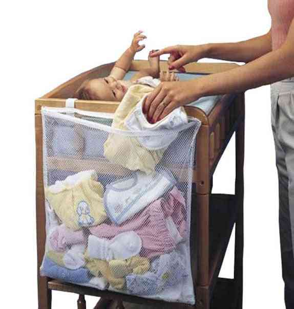 Baby Cot Bed Hanging Storage Bag, Crib Organizer Toy, Diaper Nappy Pocket For Bedding Set