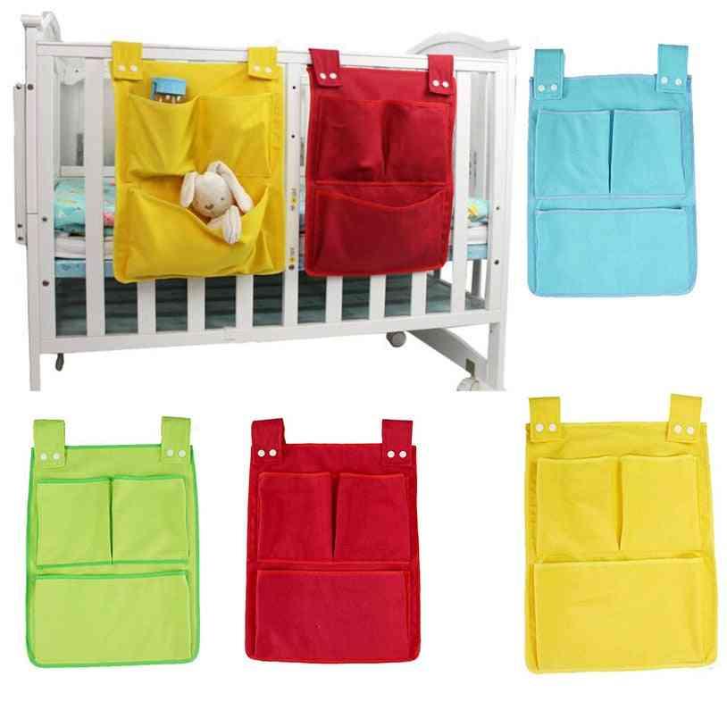 Bed Hanging Storage Bag, Baby Cotton Crib Organizer