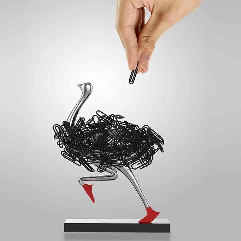Ostrich Design Magnetic Desktop Paper Clip Holder
