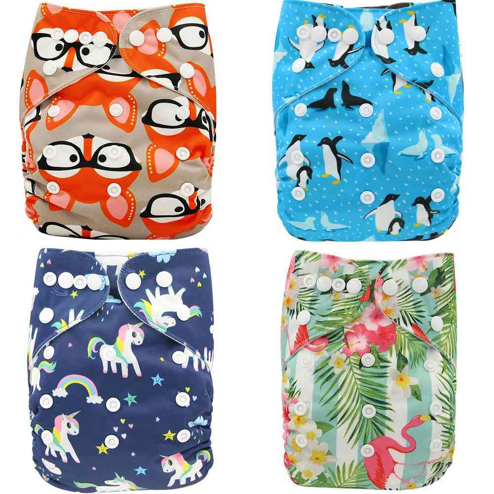 Reusable, Waterproof Printed Baby Cloth Diapers