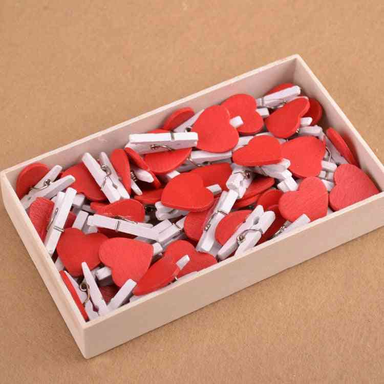 Cute Mini Heart Shaped Wooden Clips