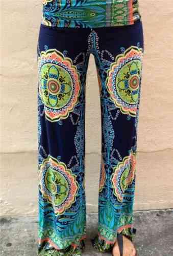 Womens Floral Print Wide Leg Trousers Long Stretch Pants
