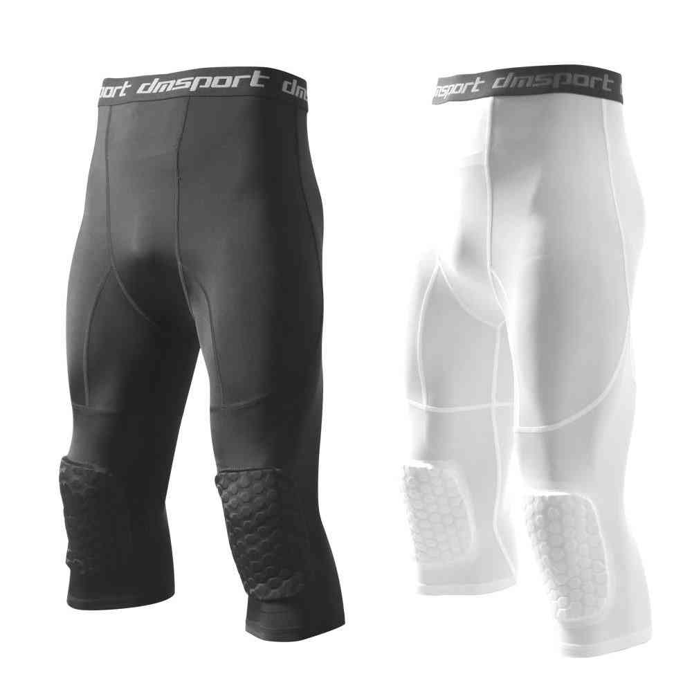 Men's Safety Anti-collision Pants, Basketball Training 3/4 Tights Leggings With Knee Pads Protector