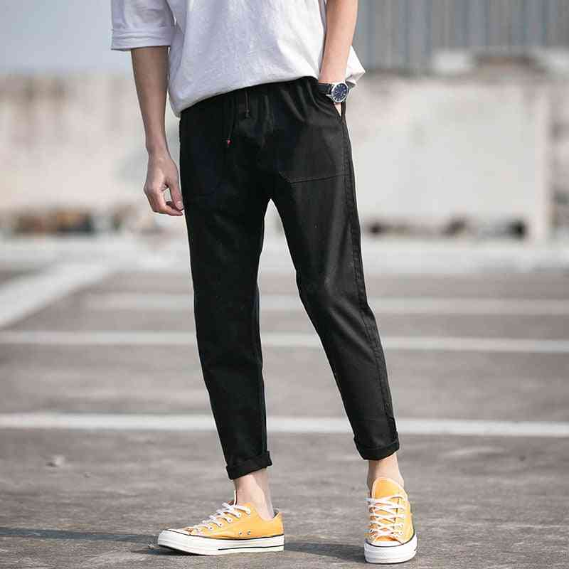 Mens Cotton Sweatpants, Fitness Workout Solid Trousers