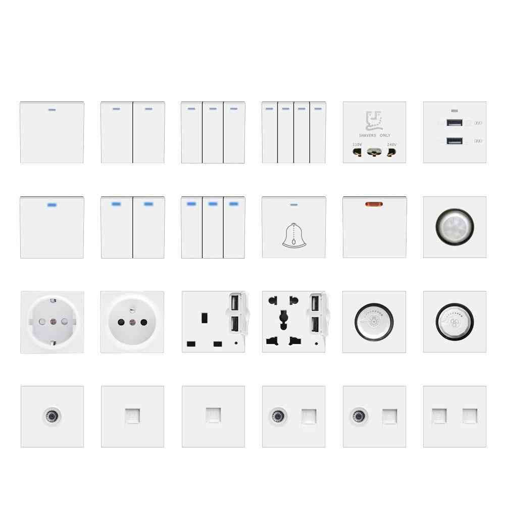 Wall Light Switch Power Socket, Plastic Electrical Outlet Function Key Only