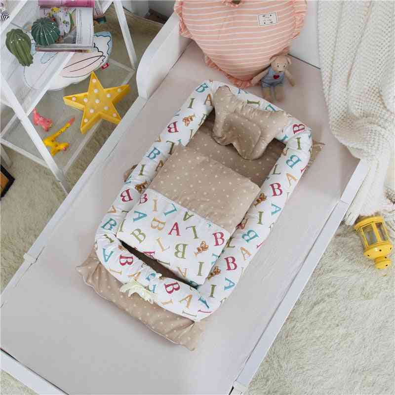 Character Print Foldable Baby Crib, Portable Mini Bed And Blanket For