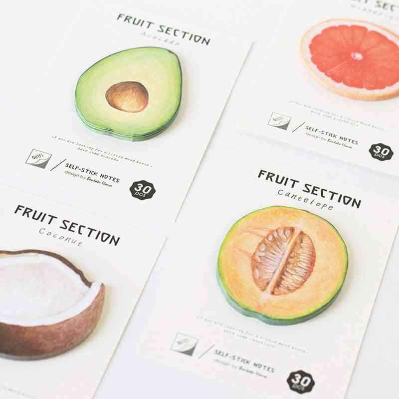 4-style Self-adhesive Tropical Fruits, Notebook Memo Pad Sticky Notes For Office & School