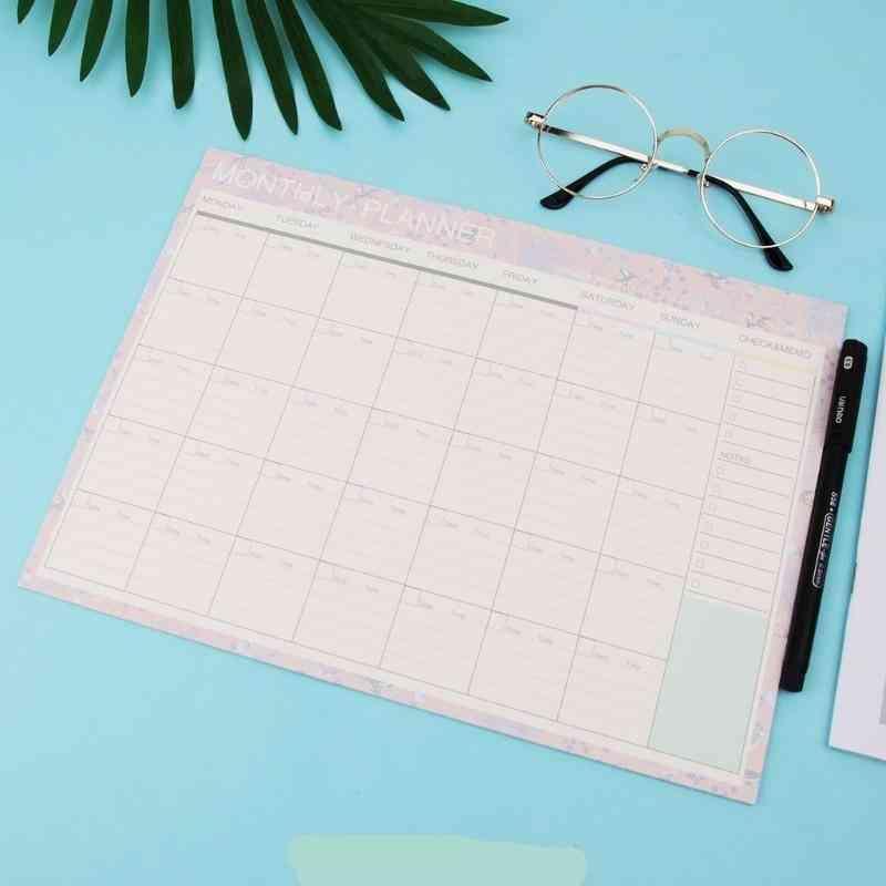 Monthly Paper Pad, Planner Desk Agenda For School & Office