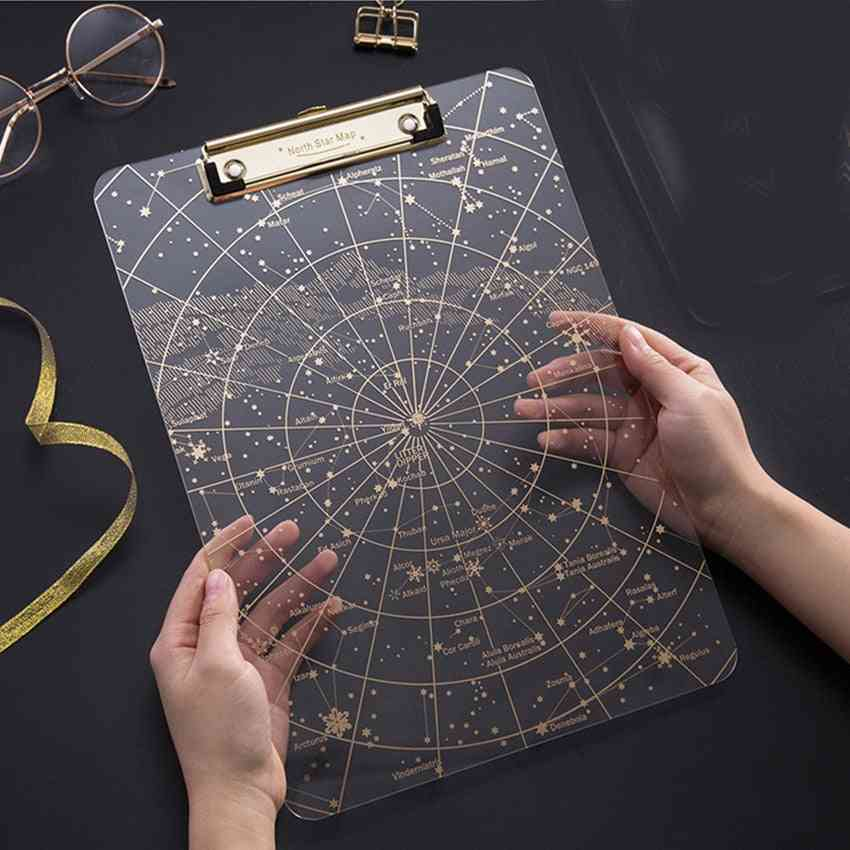 A4 Starry Sky Clipboard, Paper Writing Pad Document Holders