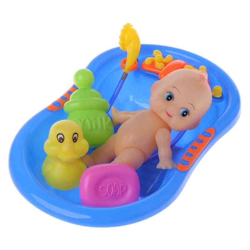 Miniature Bathtub Set With Baby Doll- Water Floating