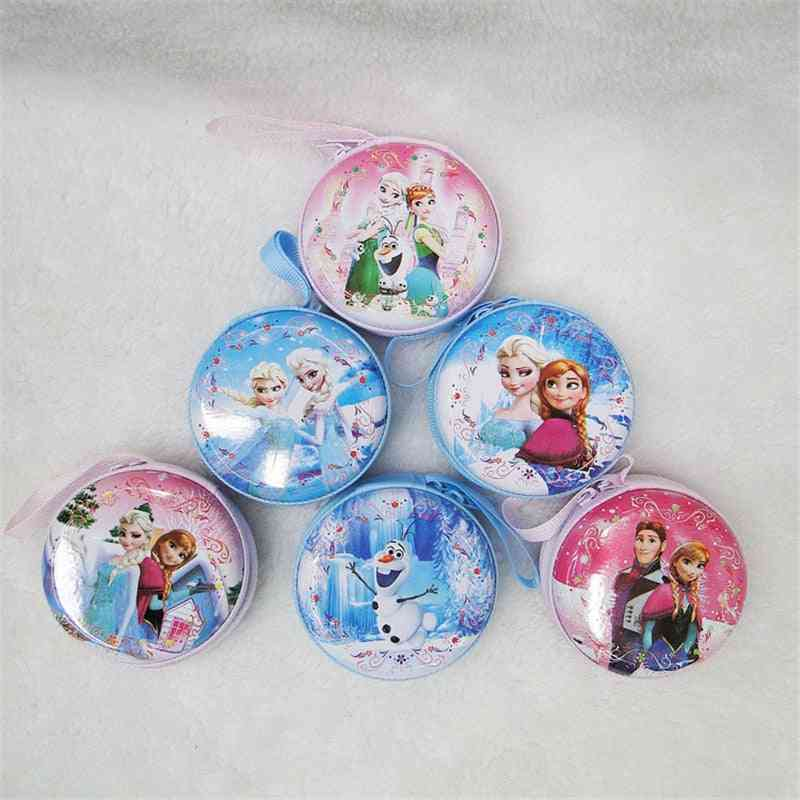 Cute Cartoon Design, Round Mini Purse For Coin/headphones/ Key/charger/ Cosmetic