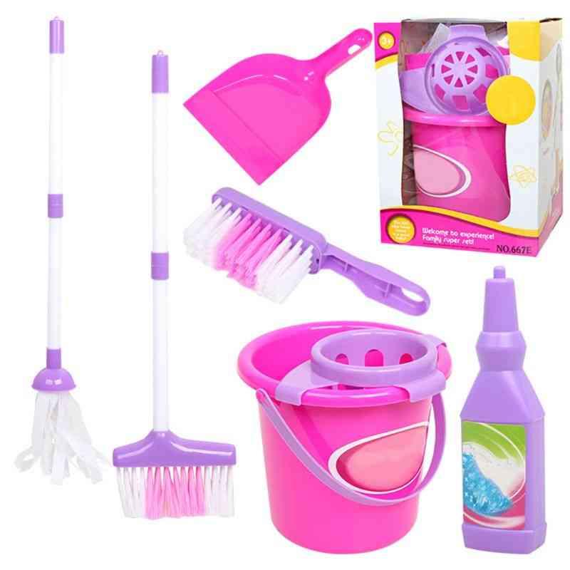 Cleaning Play Toy Set- Mop/broom/bucket/brush Dustpan Kits