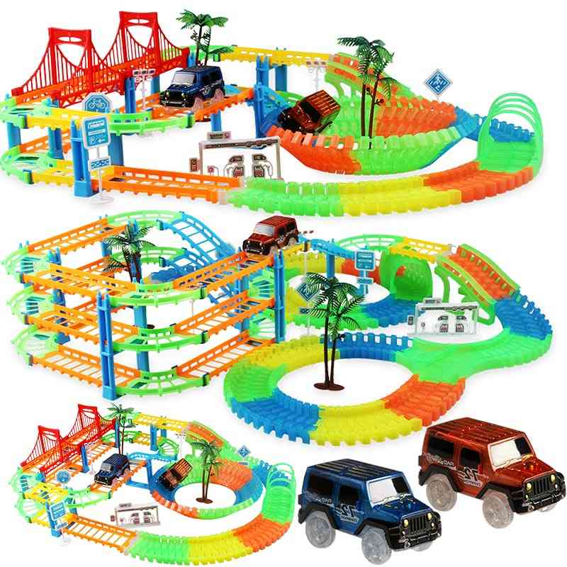 Flexible Railway Racing Track Play Set With Electronic Flash Light Car For