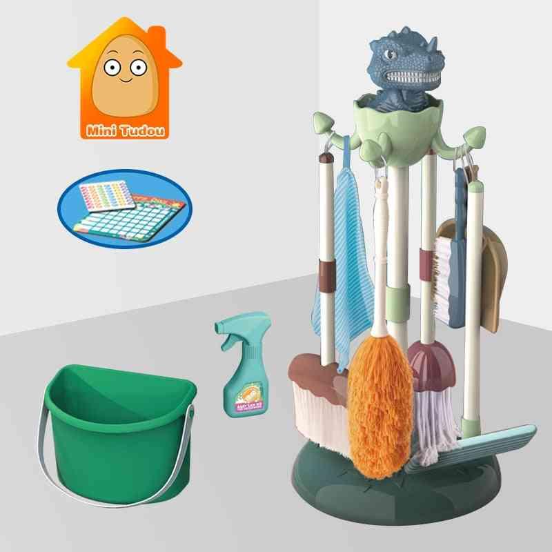Plastic Cartoon Pretend Play Cleaning Broom Mop Brush Set Toy