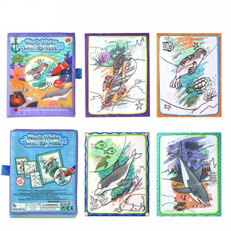Cartoon Pattern Water Drwing Book With Magic Pen For Kids
