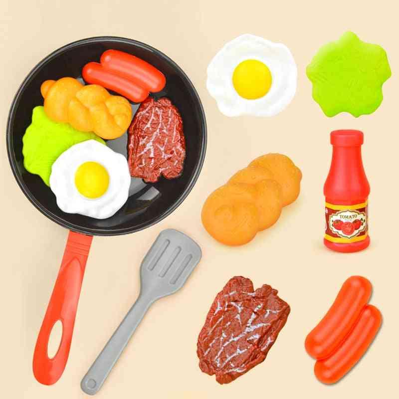 Kitchen Food Play Set- Pot Steak/ Vegetable Bread/ Hot Dog/ Omelette