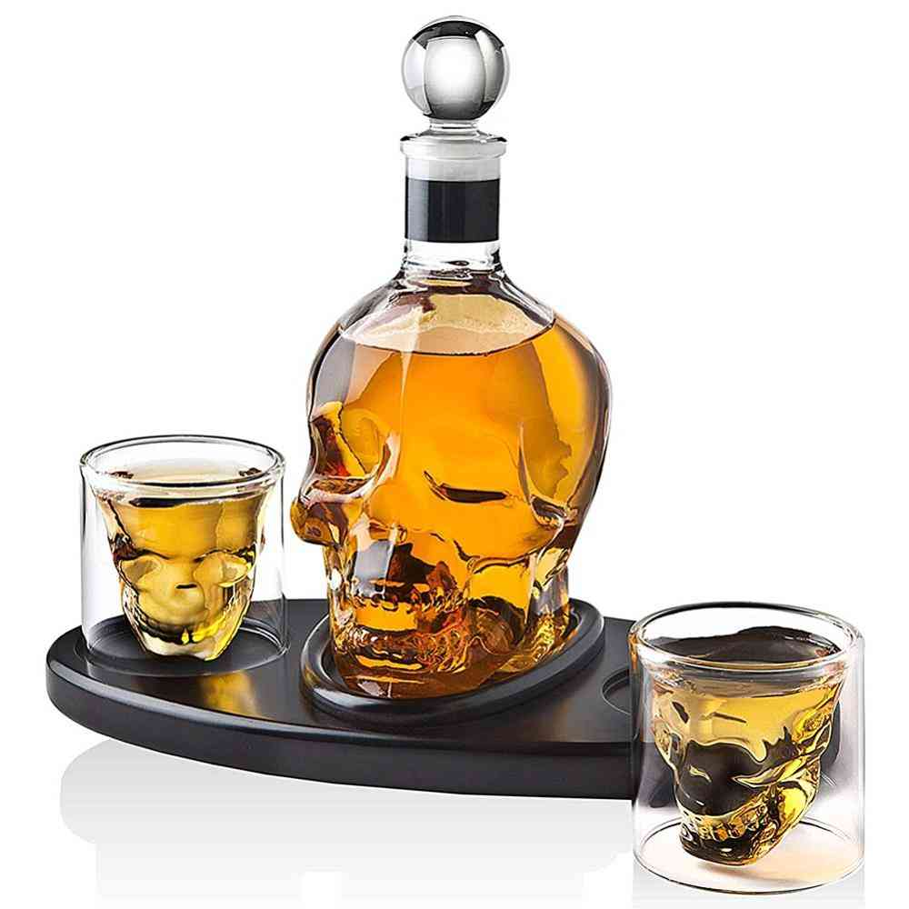 Creative Skull Design Wine Crystal Bottle And Cups