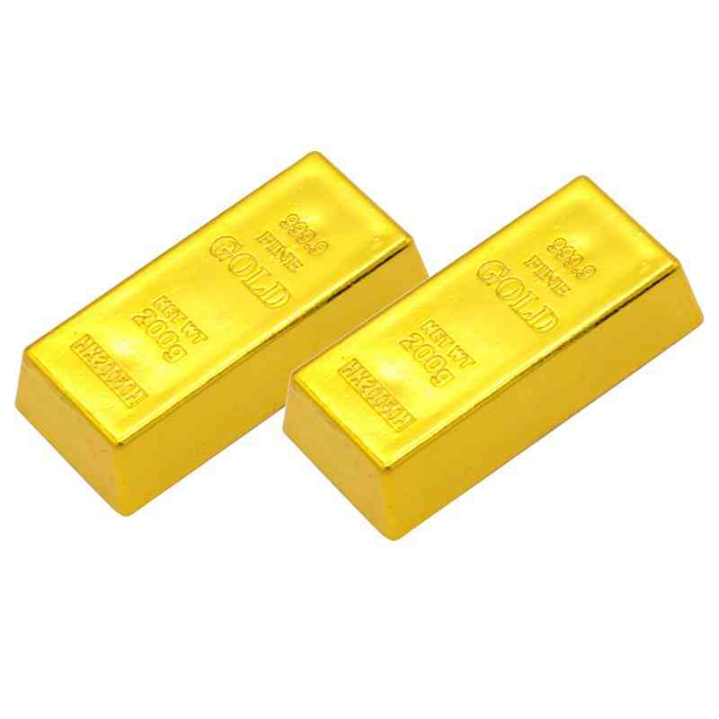 Plastic Sinulation Hollow Gold Bullion, Fake Brick