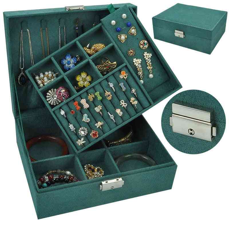 Double-layer Velvet Jewelry Storage Box-large Space Holder