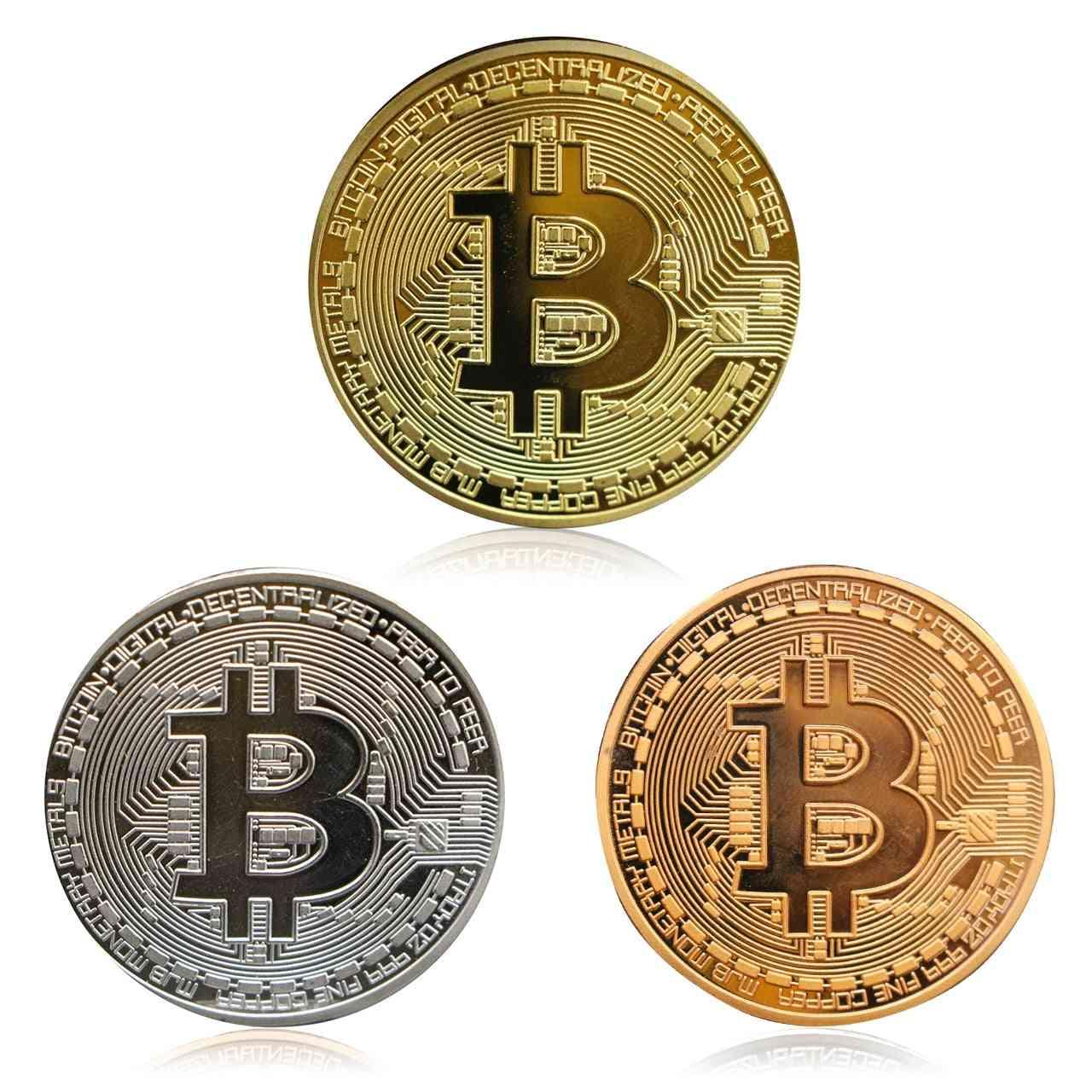 Gold Plated Bitcoins Imitation Coin-souvenir Medal