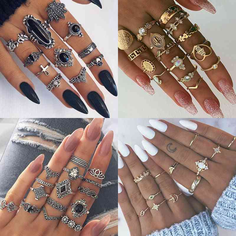 Boho Vintage Rings Set