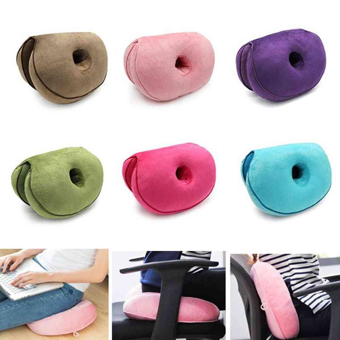 Dual Comfort Cushion- Hip Shape Folding Pillow Fits Car Seat, Home/office Chair