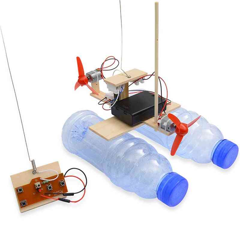 Diy Wooden Remote Control Boat Assembly Kit-educational Scientific Experiment Model