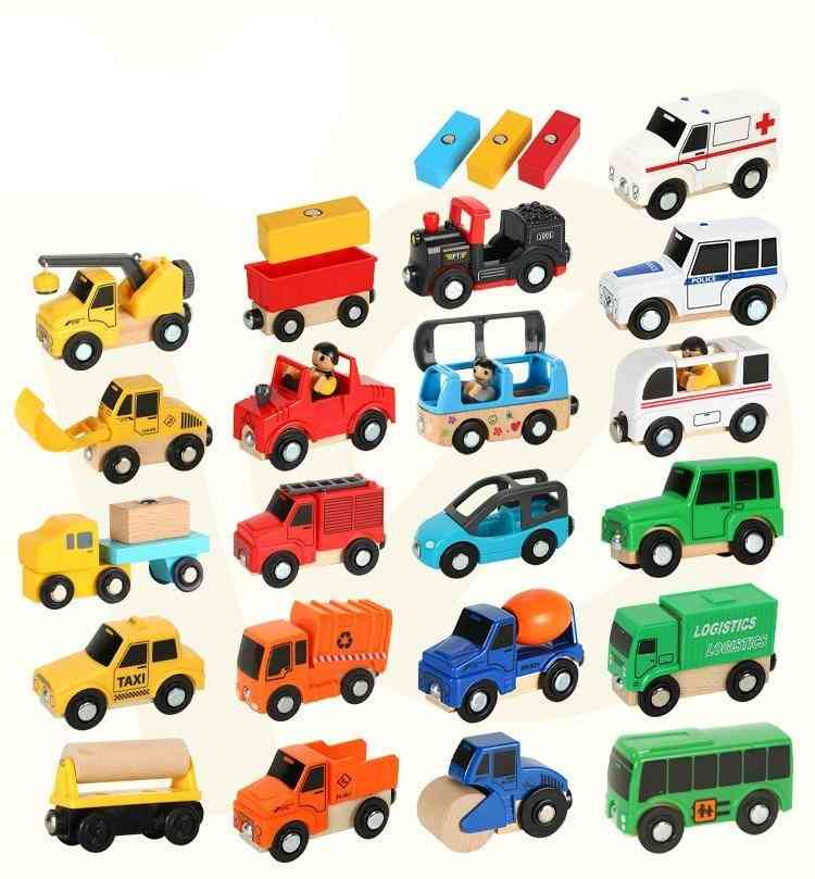Wood Magnetic Train Plane Railway Helicopter Car, Truck Accessories Toy