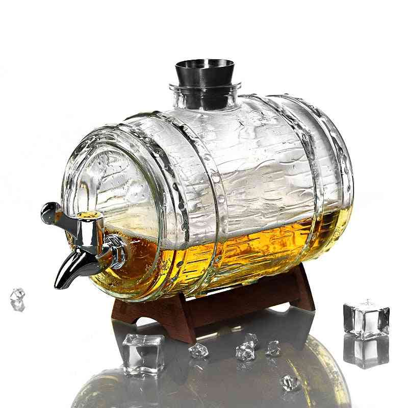Transparent Whiskey Decanter Set- Creative Beer Barrel For Family Party
