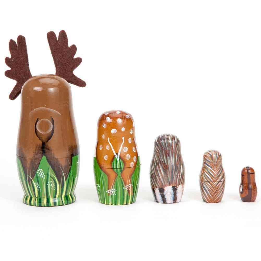 Hand Painted Wooden Nesting Dolls Deer-animal Figurines Toy